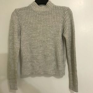 🌼Divided Mock Neck Grey Sweater sz S